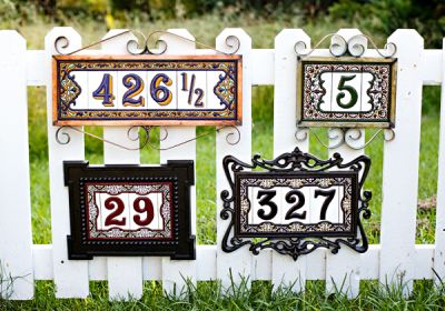 Hand made house numbers from Spain.