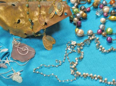 Jewelry made with Muntz metal off old shipwrecks, genuine sea glass or vintage beads.